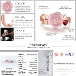 Wholesale Pink 9mm - LAMOON Rose Flower 9mm 100% Natural Pink Rose Quartz Ring 925 Sterling Silver Jewelry Rose Gold Romantic Wedding Band LMRI025