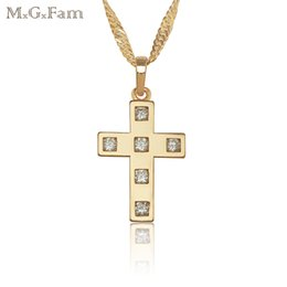 Wholesale yellow gold cross necklace - (112P) Special Design Charming Jesus Cross Pendant Jewelry 18K yellow Gold Plated with 45cm Wave Chain.