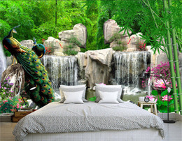 Wholesale Natural Entertainment - 3D Wall Mural Natural Scenery Wallpaper Landscape Bamboo Forest Falls Peacock Bedding Room 3D Non-woven Wall Paper TV Background