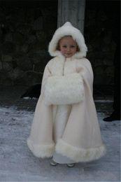 Wholesale Silver Fur Bolero Jacket - Winter Warm Flower Girls Faux Fur Girls Wrap 2017 White Ivory Fur Shawl Cloaks Jacket Boleros Shrug Wedding Dresses Little Children Cap Wra