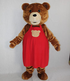 Wholesale Cute Teddy Bear Sale - 100% real photos Free shipping cute brown colour adult plush teddy bear mascot costume for sale