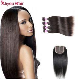 Wholesale Super Black Hair - Aliyou Super niace Brazilian Hair Peruvian Indian Malaysian Weave Bundles Unprocessed Straight Human Hair DHL Free Shipping