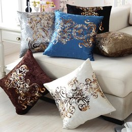 Wholesale Handcraft Homes - Luxurious Continental Handcraft Bronzing Pillow Cover Home Decor Cushion Cover Golden Print Velour Decortion Throw Pillow