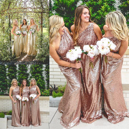 Wholesale Wedding Dresses One Shoulder Roses - One Shoulder Long Sequin Bridesmaid Dresses Under 100 2017 Rose Gold Country Maid of Honor Gowns Custom Made Formal Wedding Guest Dress