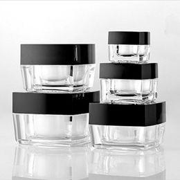 Wholesale 5g Acrylic Jar Wholesale - 20pcs lot Mini Cosmetic Container 5g 10g 15g 30g 50g Square Cube Acrylic Jar Clear Cream Pot Makeup Sample Jar Packaging Bottle