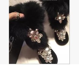 Wholesale Fox Ribbon - 2017 European fashion original high-end luxury fur fox heavy snow boots shoes leather Rhinestone frosted leather free shipping