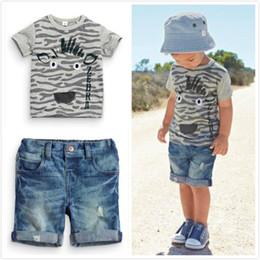 Wholesale Pc T Shirts - 2017 Summer style Boy Clothes Set Kids Clothes Boys Clothing Short-sleeved T-shirt+Denim shorts 2 Pcs Outfit Set Children Suit