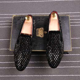 Wholesale Handmade Mens Loafers - Italy Style Handmade Men's Loafers Genuine Leather Rhinestone Casual Shoes Mens Somking Slipper Flats Driving Shoes Man Party Wedding Shoe