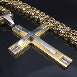 Wholesale Byzantine Steel Chain - Hiphop rock Stainless Steel Chain 3 Layer Knight Cross Silver Gold color Mens Necklace Pendant Byzantine chain