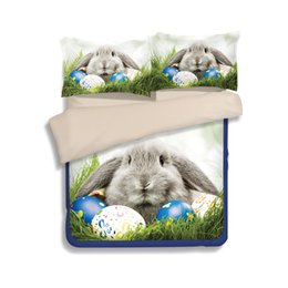 Wholesale Orange King Bedding - Eggs & Rabbits Duvet Cover Set 2PC-3PC Bedding Set Quilt Cover Pillowcase Twin Full Queen King 6 Patterns to Choose