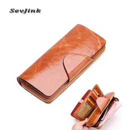 Wholesale First Coins - Wholesale- 2017 Hot Sales First Layer Of Cowhide Female Wallets Zipper Genuine Leather Long Design Men Women Wallets carteira feminina