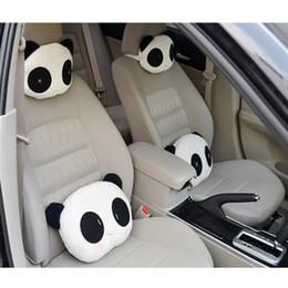 gestrickte autositzbezüge Rabatt 5 STÜCKE Nette Reizende Panda Muster Autositz Nacken / Kopfkissen Weiche Rückenkissen Kopfstütze CIA_607
