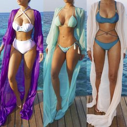 Wholesale High Waist Long Sleeve Cardigan - Bikini Blouse Woman Fashion Sexy Pure Color Bandage Cardigan Sunscreen Beach Dress Bikini Long Sleeve Blouse Free Shipping
