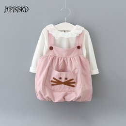 Wholesale Casual Dress Shirt Colours - Wholesale- New 2017 autumn baby girl clothing Sets fashion cotton long sleeve T-shirt and cartoon strap dress girls clothes GD-462 baby set