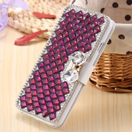 Wholesale Galaxy Grand Duos Flip Covers - Diamond Rhinestone Case For Samsung Galaxy Grand 2 Duos G7102 G7106 G7108 Cover Shining Wallet Stand Flip PU Leather Phone Bags