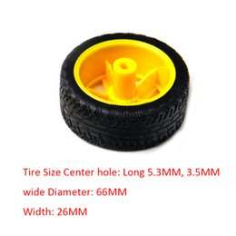 Wholesale Gear Motor Wheel - Mini Smart Car Robot Plastic Tire Wheel with DC 3-6v Gear Motor For Arduino Best Yellow and Black