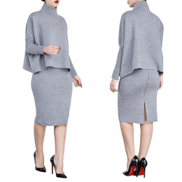 Wholesale Womens Batwing Sleeve Dress - New Womens Sexy Two Piece Sets Fashion Gray Turtleneck Long Sleeve Tops and Skirts 2 piece Set Clothing For Woman Split Two piece Suits XL