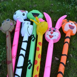 Wholesale Inflatable Hammers - free shipping 20pcs Cartoon Inflatabel Animal Long Inflatable Hammer No wounding weapon Stick Children Toys