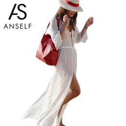 Wholesale Semi Sexy Sheer Sleeve - Wholesale- Anself Sexy Summer Maxi Long Dress 2017 Fashion Women Semi-sheer Split Chiffon Beach Dress Holiday Loose Causal Dresses Vestidos