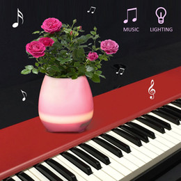 Wholesale Office Mobile - Smart Light Up Mini Bluetooth Waterproof Speaker Music Flower Pot Vase With Touch Sensor Wireless Plastic Player for Office Home(No Plants)