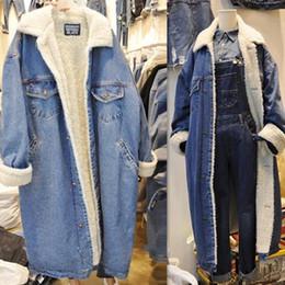 Wholesale Blue Cashmere Coat - Retro Women's Fleece Thick Long Denim Jeans Coat Winter Big Lapel Lining Jackets Parkas Outwear Korean Maxi Large size New