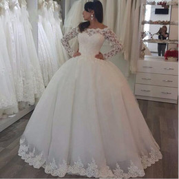 Wholesale Low Price Sexy Wedding Dresses - Low Price vestido de noiva Custom Made Bridal Dresses Long Sleeve Wedding Gowns robe de mariage Western Ball Gown Lace Wedding Dresses 2017