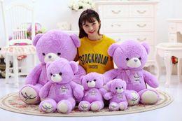 Wholesale Lavender Stuff - 3 sizes Lovely Lavender Bear Purple Green Teddy Bear Plush Bear Toys Stuffed Doll Birthday Gift for Kids Girls SA1098