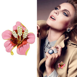 Wholesale Black Rhinestone Flower Brooch - New Style Luxury Gold-Color Silver Color with Rhinestone Red Pink Enamel Flower Brooch for Women Fashion Jewelry