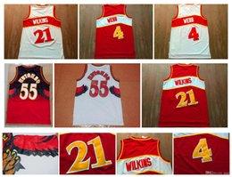 Wholesale Retro Shirts - Retro 21 Dominique Wilkins Jersey #4 Spud Webb 55 Dikembe Mutombo Jersey Sport Shirt stitched Throwback Basketball Jersey