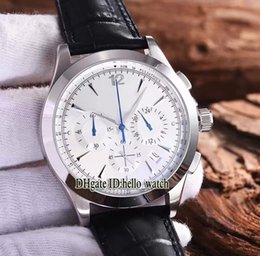 Wholesale Master Strap - AAAQuality Luxury Brand Master Control Master Q1538420 White Dial VK Quartz Chronograph Mens Watch Leather Strap Gent Watches With Gift Box