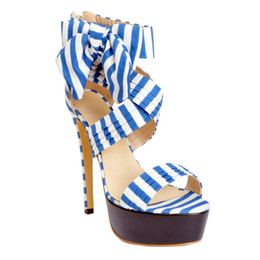 Wholesale sexy evning dresses - Zandina Women's 14.5cm Sky Slim High Heel Patchwork Sexy Party Evning Sandals Shoes Blue XD211