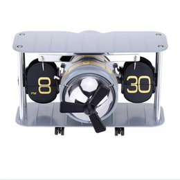 Wholesale Airplane Antiques - Retro Auto Flip Clock Airplane Propeller Desk Table Down Page Internal Gear Operated Clocks Movement Flip Down Table Alarm