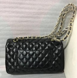 Wholesale Pillow Cover Geometric - Factory Sell Brand 30cm New Jumbo Lambskin Double Flap Bag w Silver Hardware Black Maxi Genuine Leather Gold Chain Flap Bag Women Handbags