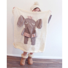 Wholesale Lion Elephant Stuffed Animals - Ins Toddler Blanket Bear Elephant Lion Crochet Knitted For Bed Sofa Cobertores Cotton Blanket Throw Baby Blanket with Stuffed Animal