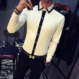 Camicia a camicia bianca online-All'ingrosso 2017 camice bianche Mens Club Dress Outfits camicia nera Man Color Block sociale Camisa Slim Fit Fashion Chemise Homme Manche Longue