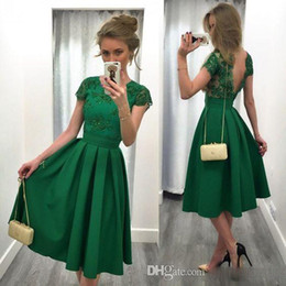 Wholesale Vintage Jade - 2017 Cheap Jade Green Short Cocktail Dresses Lace Appliques Cap Sleeves Party Gowns Backless Pleats Satin Vintage Knee Length Prom Dress