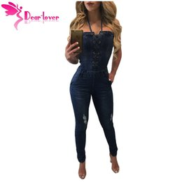 Wholesale Jean Rompers - Women's Jean Rompers Long Deep Blue Lace Up Front Halter Pockets Full Length Denim Jumpsuits Pencil Overalls LC64267 17410