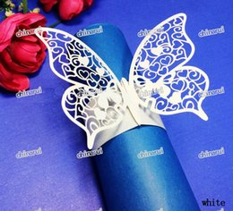 Wholesale Wedding Paper Towels - Wholesale-lace butterfly Paper Napkin Rings Wrap clip towel table Decoration For Wedding Party Event Decors restaurant hotel