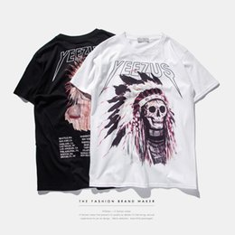 Wholesale Yeezus T Shirt - S-3XL 2017 American stamp tide brand men's leisure Street Indian chief skull t-shirt yeezus