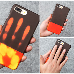 Wholesale Heat Cards - New Temperature Sensing Change Color Phone Cover Case For iphone7plus Matte PC Thermal Heat Induction phone case