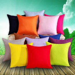 Wholesale Cushion Covers Sale - Hot sale square cushion cover soft 44cm pillow case bolster case pure color light smooth metalic zipper simple fashion design home sofa car