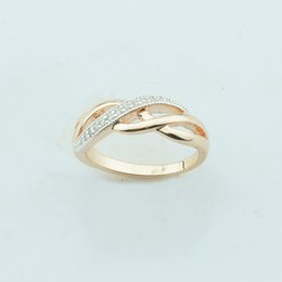 Wholesale 585 Ring - Fashion Jewelry Women 6mm White Cubic Zircon 585 Gold Color Rose Rings Twisted Weaving Size 6 7 8 9 10