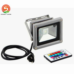 Wholesale Remote Wall Plug - 30W 50W 100W Led Floodlights RGB Led Waterproof Outdoor Flood Lights AC 85-265V + 24keys Remote Control + EU AU US UK Plug