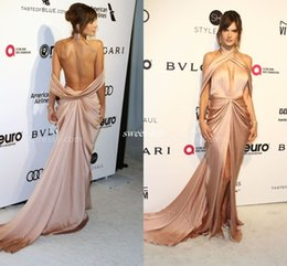 Wholesale Dress Side Open Halter - Sexy Alessandra Ambrosio Gold Satin Open Back Prom Gowns Side Split Sleeveless 2017 Mermaid Cheap Celebrity Party Dresses Long Evening Dress