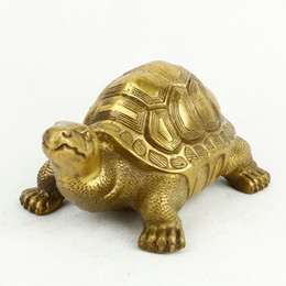 Wholesale Turtle Ornaments - The small copper copper braised turtle longevity turtle office opening Home Furnishing feng shui ornaments crafts copper bronze turtle turtl