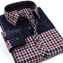 Wholesale Yellow Plaid Shirts For Men - Wholesale- New Arrival Leisure Styles Men's Non-Iron Flannel Shirts Slim Fit Spliced Shirt Brand Plaid Shirts For Men Boutique Clothing