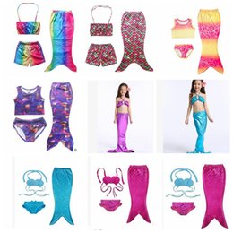 Wholesale 4t Girls Swimsuit - Baby Mermaid Swimwear Girls Mermaid Cosplay Custume Swimsuit Bikini Swimwear Swimming Costume Kids Girls Swimsuit Bikini KKA1941