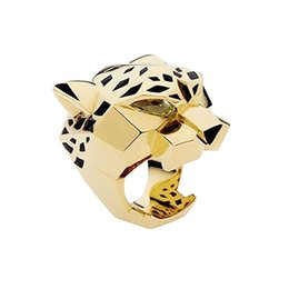 Wholesale fashion cocktail party - Wholesale- Fashion Quality Gold Plating Leopard Man Woman Cocktail Statement Ring Green Zircon Eyes