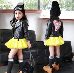 Wholesale Girl Coat Heart - baby girls leather jacket autumn child toddler girl heart shape back PU jackets coat fashion designer outwear