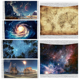 Wholesale hanging prints - Tapestry Hippie Wall Hanging Galaxy Throw Polyester Tapestry Star Galaxy Tapestry Wall Hanging Décor 130*150CM LJJK775